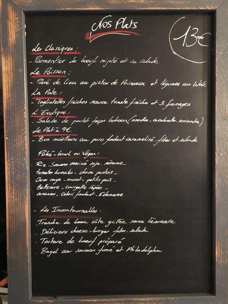 Restaurant Bistrot La-Haut Montmartre Exemple de plats du jour