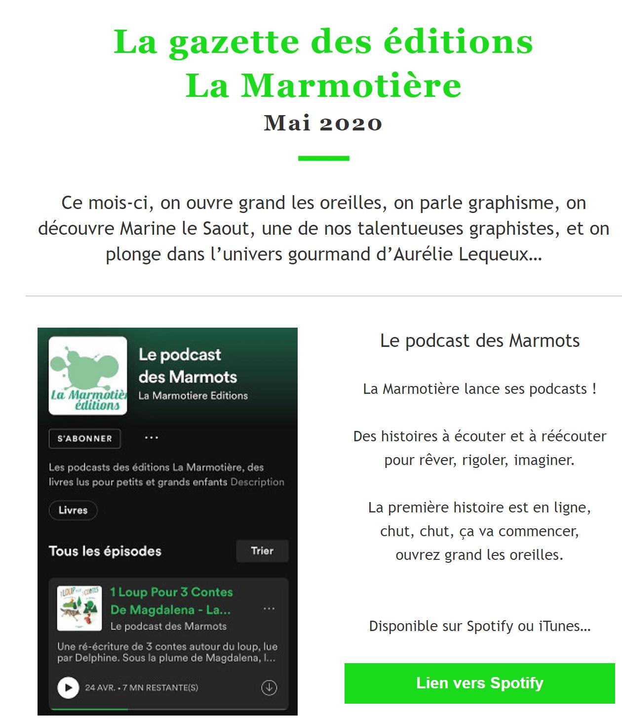 Newsletter mai La Marmotiere